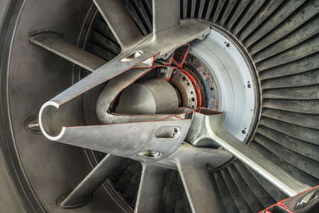 detail of a historic fighter plane engine