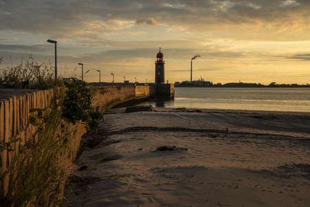 Dusk on the river Weser in Bremerhaven.