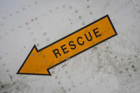 rescue hatch sign on a historic plane Archivio Fotografico