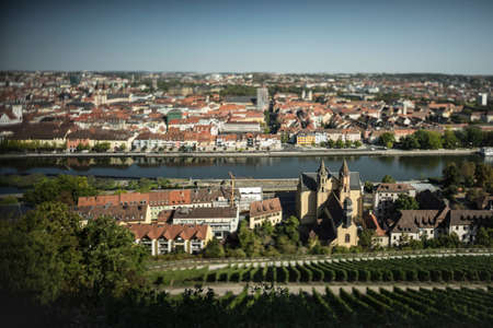 Miniature effect view of Wurzburg in lower Frankia.