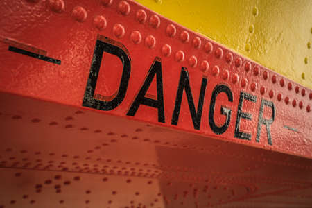 danger sign on a fire fighter plane Standard-Bild