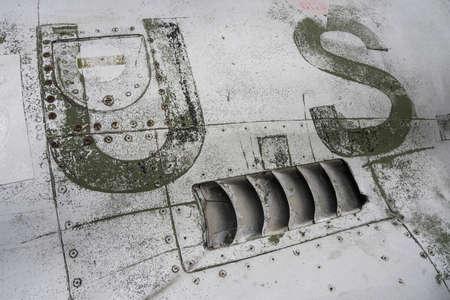 detail of a scrapped american fighter plane Standard-Bild