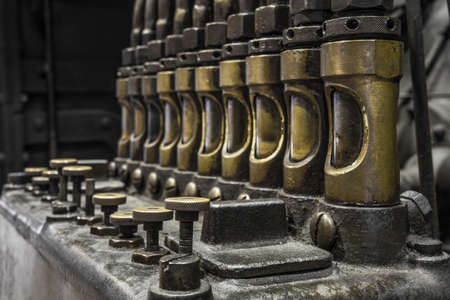 oiling pump array on a historic steam engine