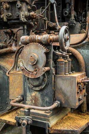 rusty worm gear on an historic engine