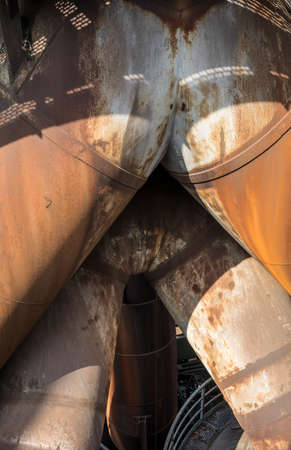 gas ventilation tubes of an historic blast furnace Standard-Bild