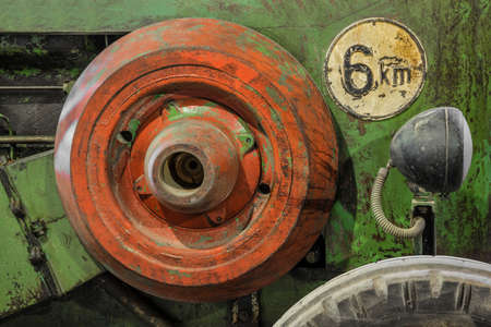 flywheel of an old tractor