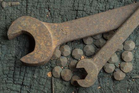 rusty jaw spanners in a workshop Standard-Bild