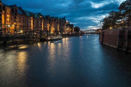 Night in the harbor area of Hamburg.