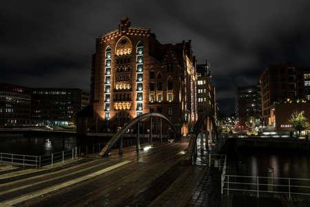 Historic warehouse in the harbor district of Hamburg.