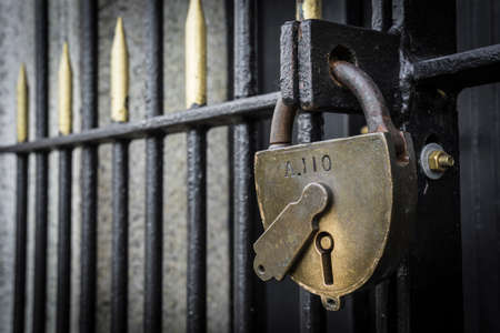 padlock on a historic gate