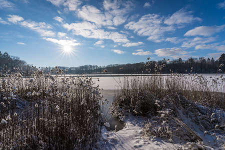 winter landscape with a frozen lake
