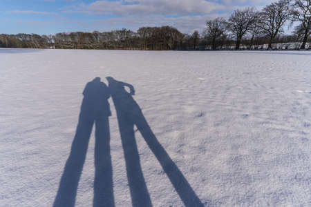 shadows of a couple in the snow