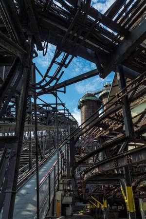 Rotten architecture of a historic blast furnace.