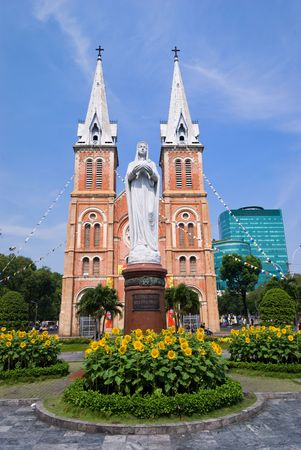 chi: Notre Dame Cathedral, Hochiminh city, Vietnam Stock Photo