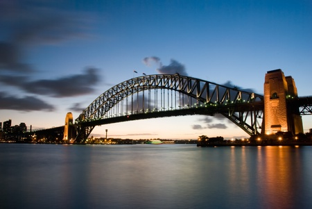 Sydney Harbour Bridge At Dusk with twilight background