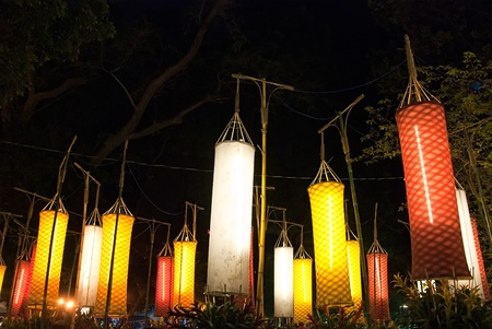 Asian traditional laterns at New Year festival nights in Vietnam.