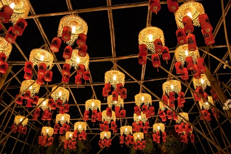 Asian traditional laterns at New Year festival nights in Vietnam. The chinese letter on the lanterns mean Happiness.