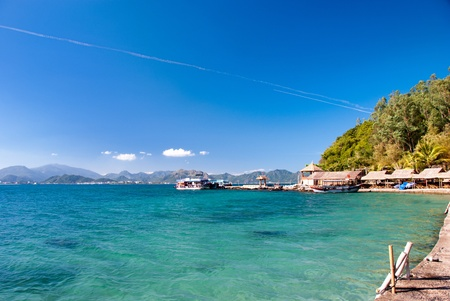 clear day: Nha Trang Beach in Khanh Hoa, Vietnam, blue sky, clear day, blue water