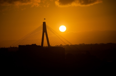 anzac: Sunset on Anzac Bridge, Sydney, Australia