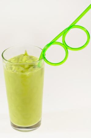 Fresh green avocado smoothie, healthy drink Stock Photo
