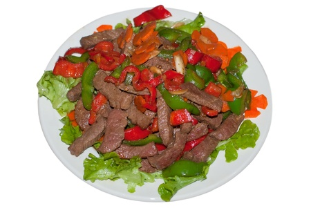 Beef Stir Fried with lettuce, capsicum, pepper and carrot