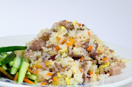 vietnamese food: Vietnamese fried rice close up shot on white background