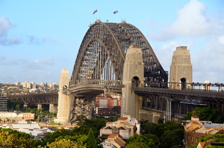 steel arch bridge: Sydney Harbour Bridge viewed from Observatory Hill Stock Photo