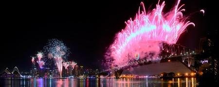 World Renown Sydney Harbour NYE Fireworks Display Panorama