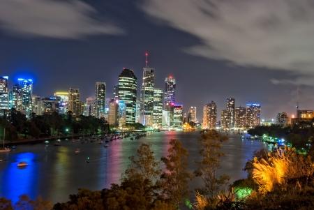 Brisbane City Skyline at night - Kangaroo Point - Queensland - Australia