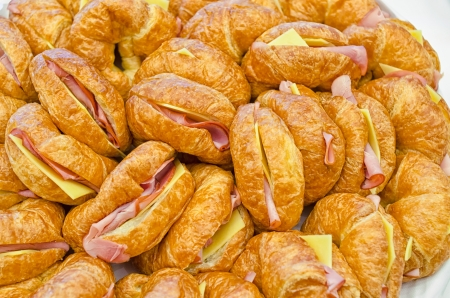 A plate of ham and cheese croissants for catering events  Stock Photo