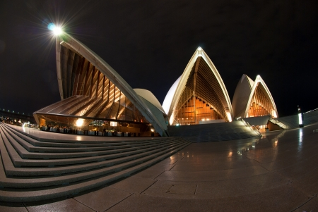 A fisheye view of Sydney Opera House At Night Editorial