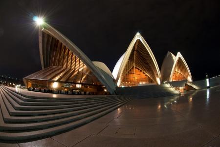 opera: A fisheye view of Sydney Opera House At Night Editorial
