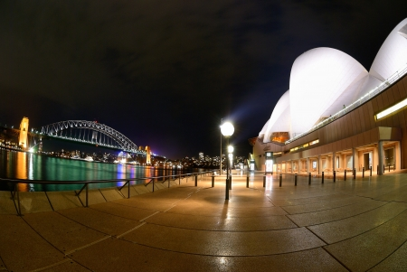 A fisheye view of Sydney Harbour At Night