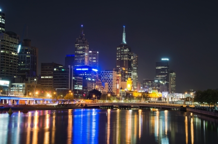 infamous: Melbourne City Skyline reflecting on the infamous Yarra river Stock Photo