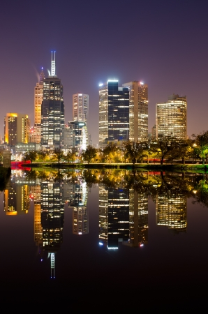 Melbourne City Skyline reflecting on the Yarra River