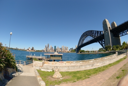 Sydney harbour skyline - blue sky, clear day, city is in the background
