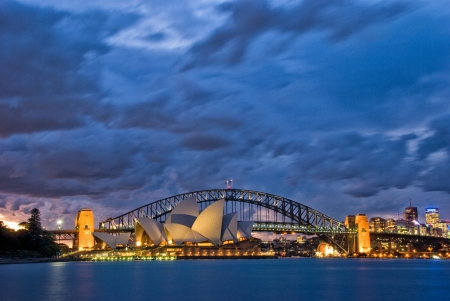sydney harbour bridge: A view of Sydney Harbour Twilight