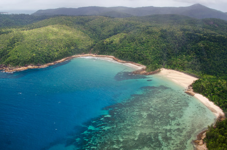 barrier: Great Barrier Reef - Aerial View - Whitsundays, Queensland, Australia