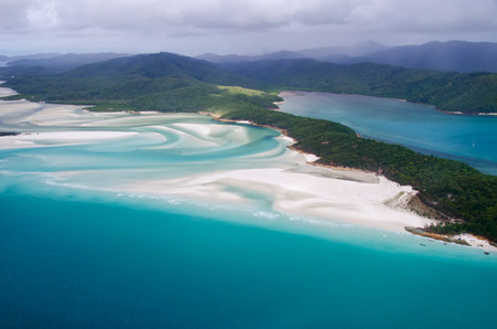barrier: Whitehaven Beach, Whitsundays Great Barrier Reef - Aerial View - Whitsundays, Queensland, Australia