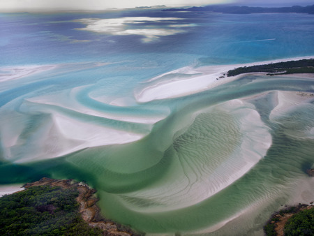 great barrier reef marine park: Whitehaven Beach, Whitsundays Great Barrier Reef - Aerial View - Whitsundays, Queensland, Australia