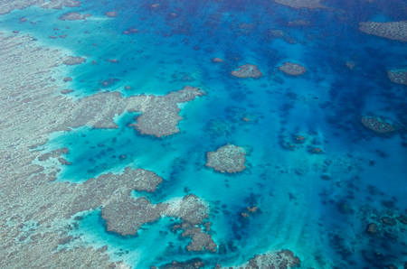 great barrier reef marine park: Great Barrier Reef - Aerial View - Whitsundays, Queensland, Australia
