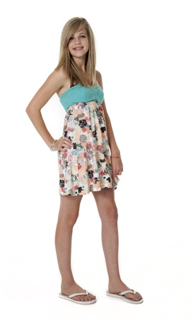 unedited: 14 year old girl in summer dress on white background