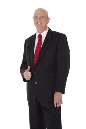 Smiling, mature businessman on white background. 版權商用圖片