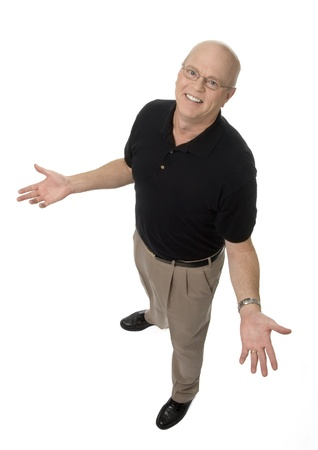 diminishing: Full length, diminishing perspective view of mature man on white background. Stock Photo