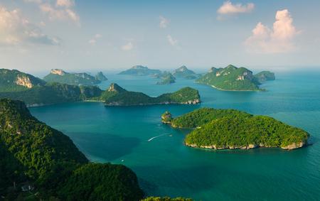 Viewpoint peak in ko wua ta lap, in mu ko angthong national marine park and see many scenic island at ko samui, thailand