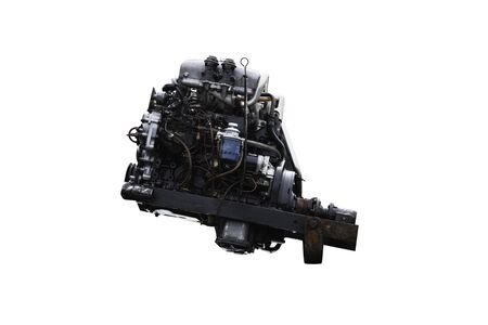 4 cylinder engine on wihte background and path