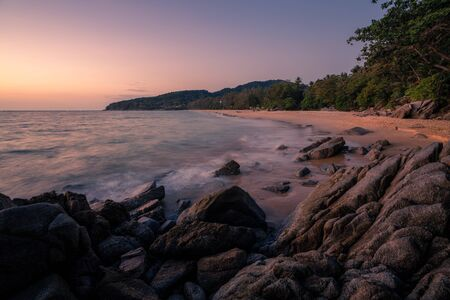 beautiful Nai Ton beach, Phuket thailand sunset time