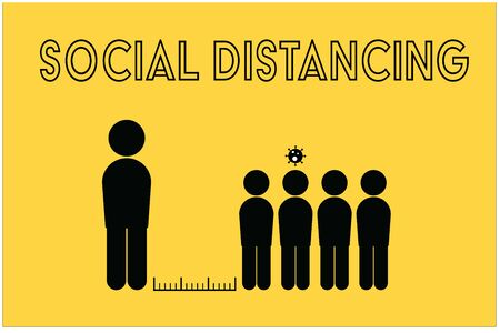social distancing symbol with COVID-19 infection situation, black symbol in bright yellow background Ilustrace