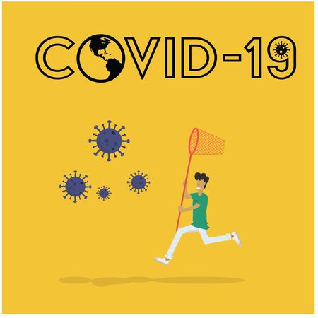 a man using the net chasing coronavirus on the air in cartoon vector concept design Иллюстрация