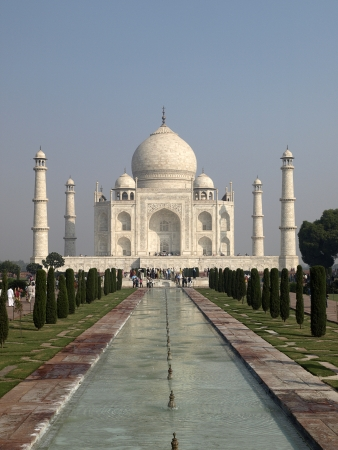 Taj Mahal seen from the entrance Stock Photo